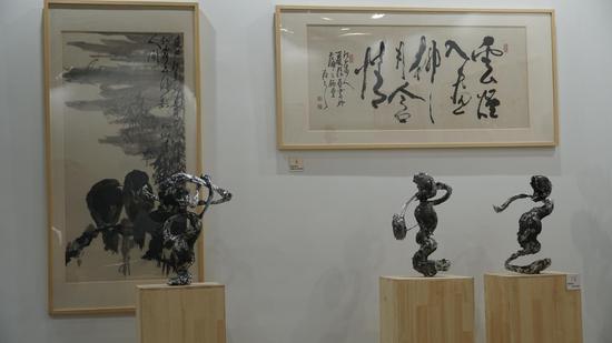 """夏振亚携作品""""雕塑书法""""系列亮相2019""""一带一路""""艺术上海国际博览会"""