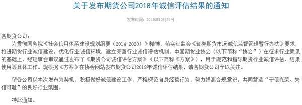 中国期货业协会公布期货公司2018年诚信评估结果
