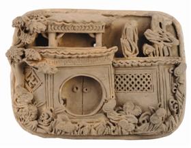 清代徽州园景图砖雕上描绘的古代园林胜景