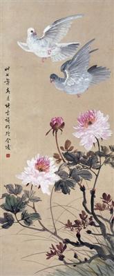 张书旂《双鸽牡丹图》:神韵中求富丽 艳丽中藏静雅