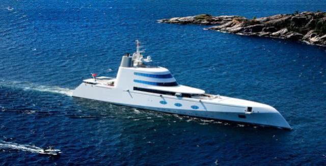 """俄罗斯寡头巨富安德烈·梅尔尼琴科的超豪华游艇""""A""""已于近日抵达日本名古屋"""