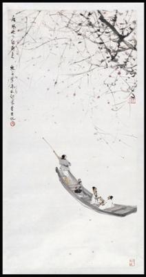 现代画家傅抱石的国画《秋风吹下红雨来》鉴赏