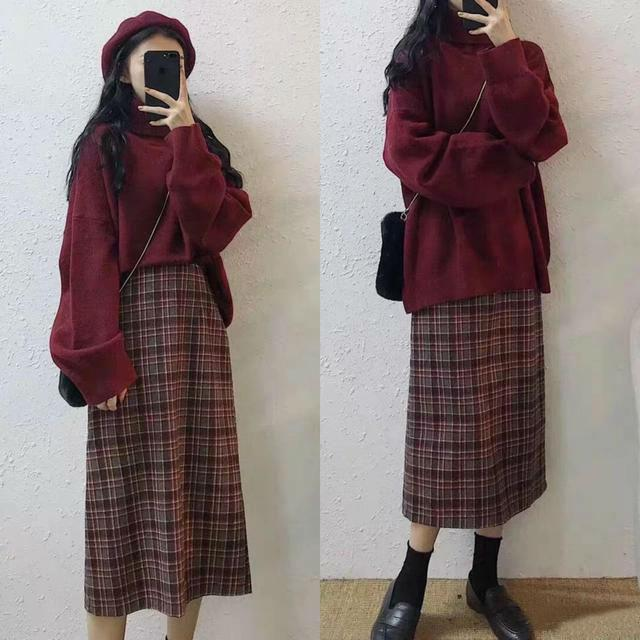 高领毛衣与格纹裙的搭配 是你喜欢的style吗?