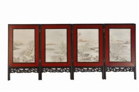 雪景山水人物纹瓷屏鉴赏