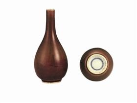 [龙吐珠图片]清道光霁红釉锥把瓶鉴赏