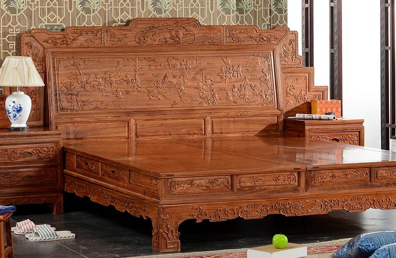 """""""兰之阁中式现代风实木床""""红木家具多少钱一套"""