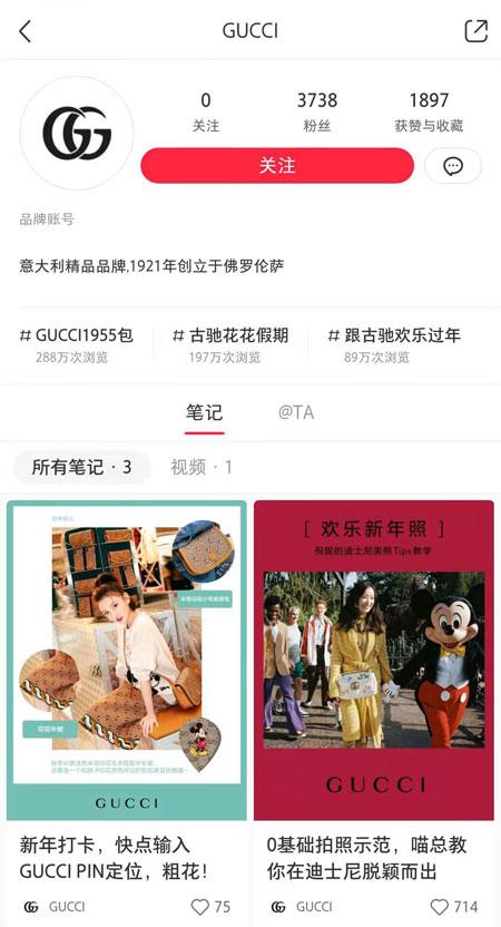 """【热文】小红书成奢侈品牌新的线上""""驻扎地""""GUCCI正式进驻小红书"""