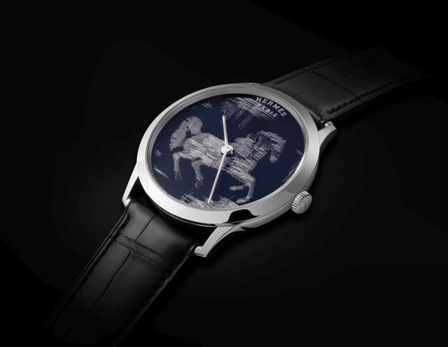 爱马仕Slim d'Hermès Cheval Ikat 金线刺绣工艺腕表