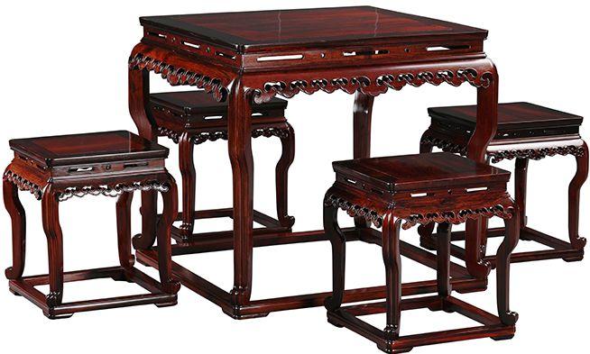 """""""大红酸枝雕云纹带托泥方桌""""红木家具的价格"""