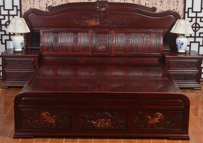 """""""宇欣古典现代风红木床""""一套红木家具多少钱?"""