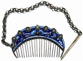 「瓷器图片」清末缀珠珐琅银梳鉴赏