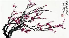 生机繁茂、春意盎然——谢之光《红梅》