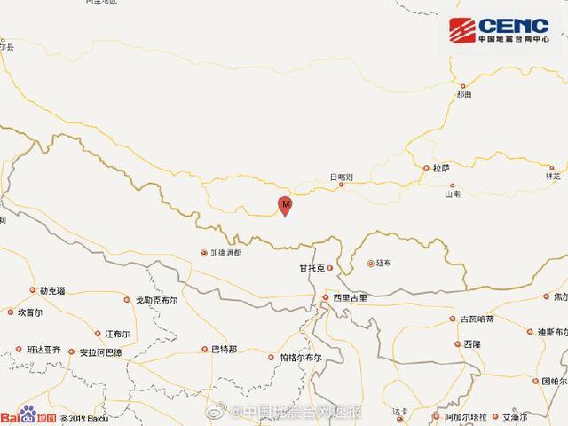 西藏日喀则市发生5.9级地震 震源深度10公里