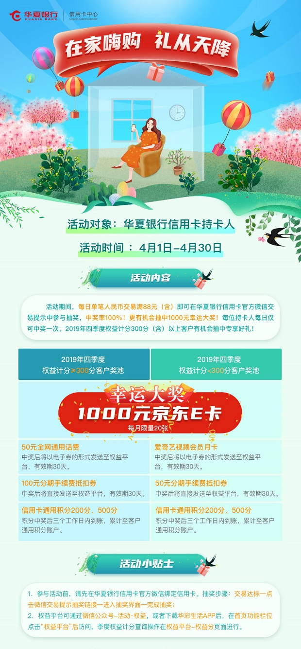 2020年4月20日华夏银行信用卡优惠活动推荐