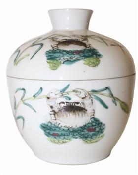 「50元人民币图片」晚清螃蟹纹粉彩盖罐鉴赏