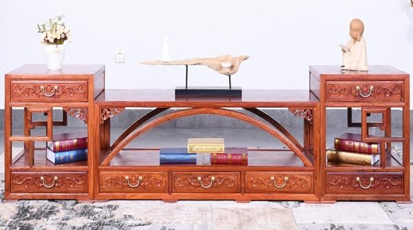 """""""艺铭天下红木古典拱桥电视柜""""一套红木家具多少钱?"""