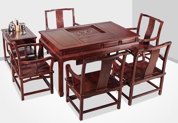 """""""文溢实木茶台桌""""一套红木家具多少钱"""