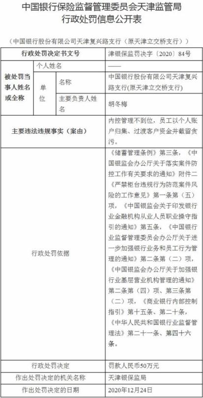 中行天津某支行员工截留客户资金贪污遭罚