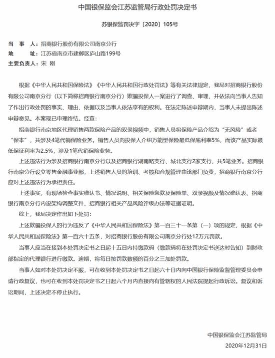 招商银行南京分行因欺骗投保人被罚12万