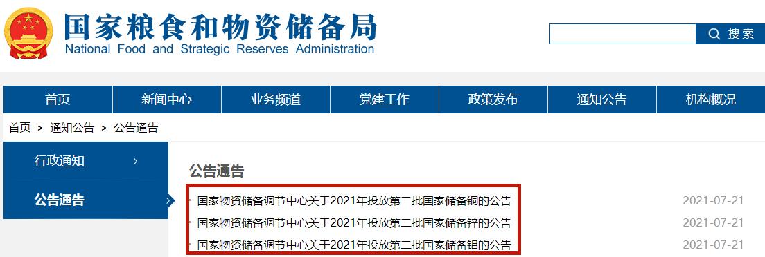 第二批国家储备铜铝锌将于7月29日竞价投放 共计17万吨!