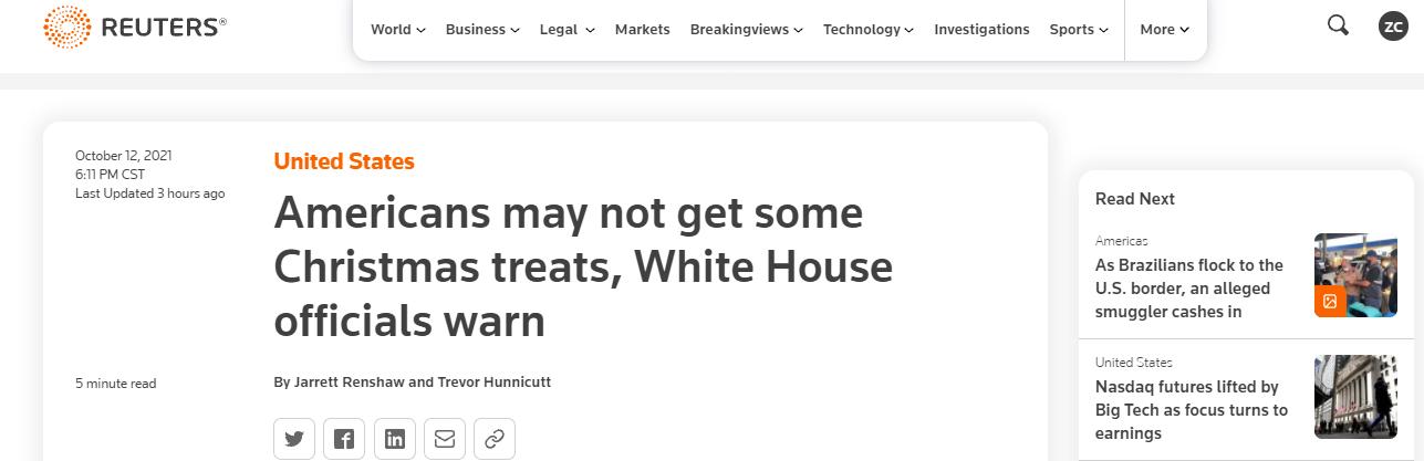 美对华加关税后果来了!白宫:美国人可能得不到一些圣诞礼物!