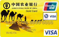 农行金穗东方神韵新疆沙漠国际旅游金卡(银联+VISA)