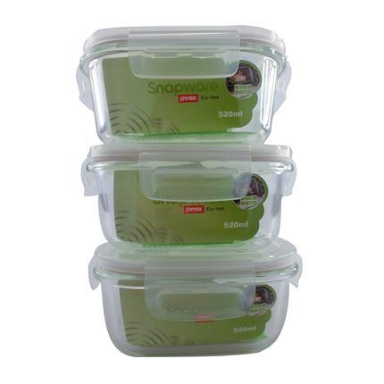 美国康宁耐热玻璃保鲜盒3件套