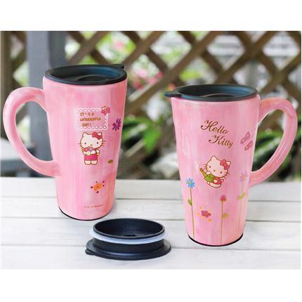 Hello Kitty 法式浪漫彩绘陶瓷杯(赠Hello K
