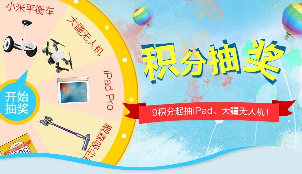 中信信用卡积分抽奖 9积分起抽iPad、大疆无人机!