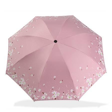 天堂伞涤丝纺黑胶三折晴雨伞