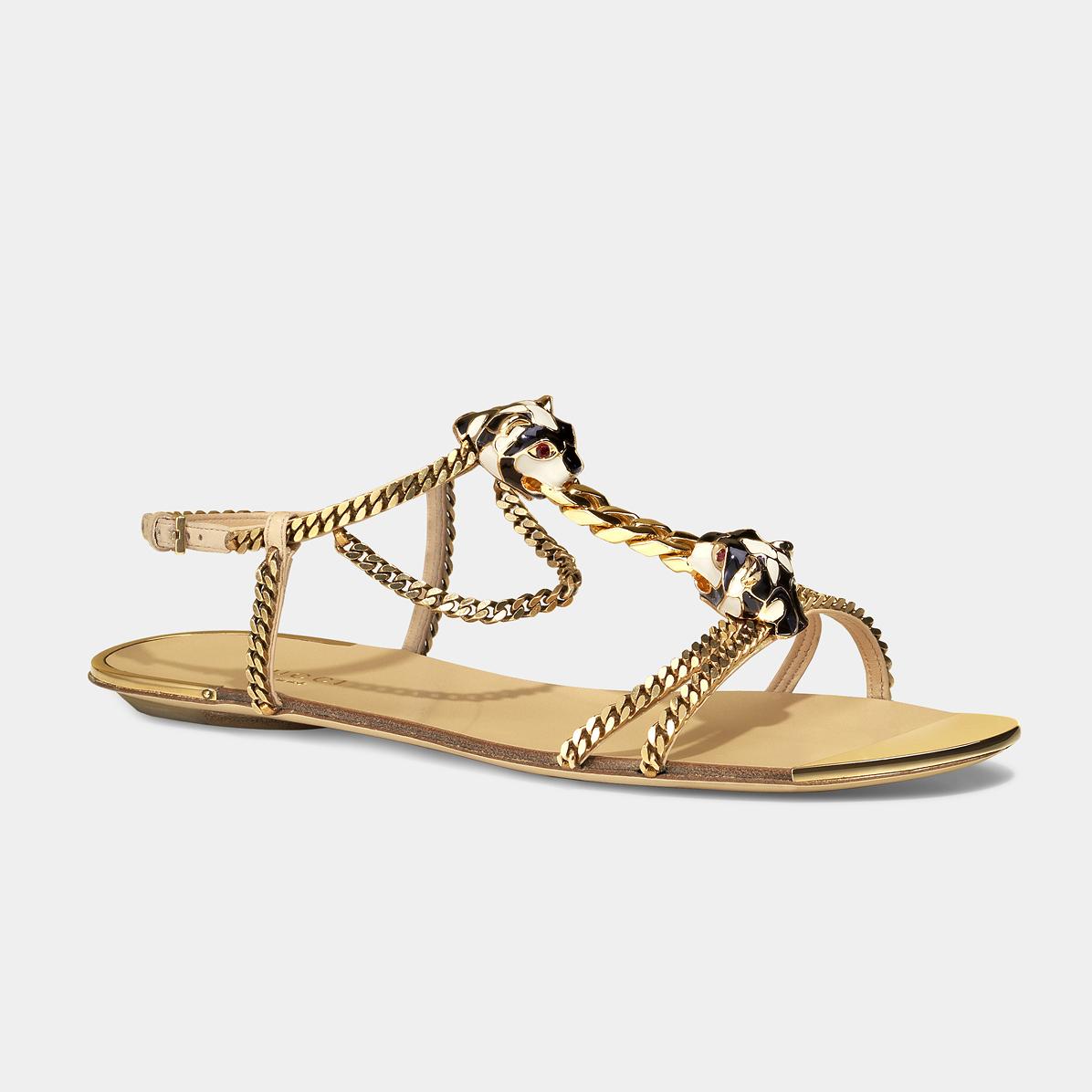 GUCCI金色链条平底凉鞋