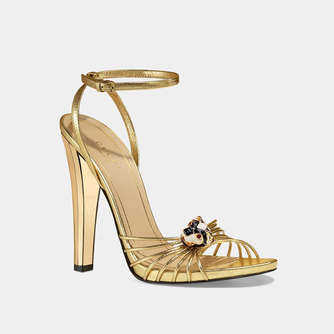 GUCCI金色高跟凉鞋