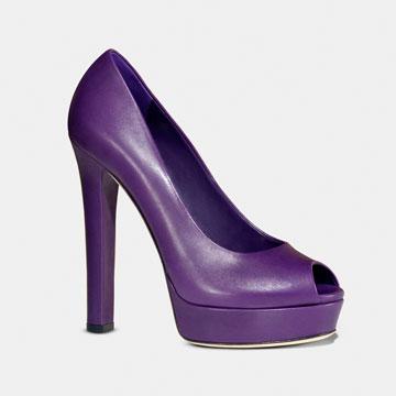 Gucci紫色皮质高跟鞋