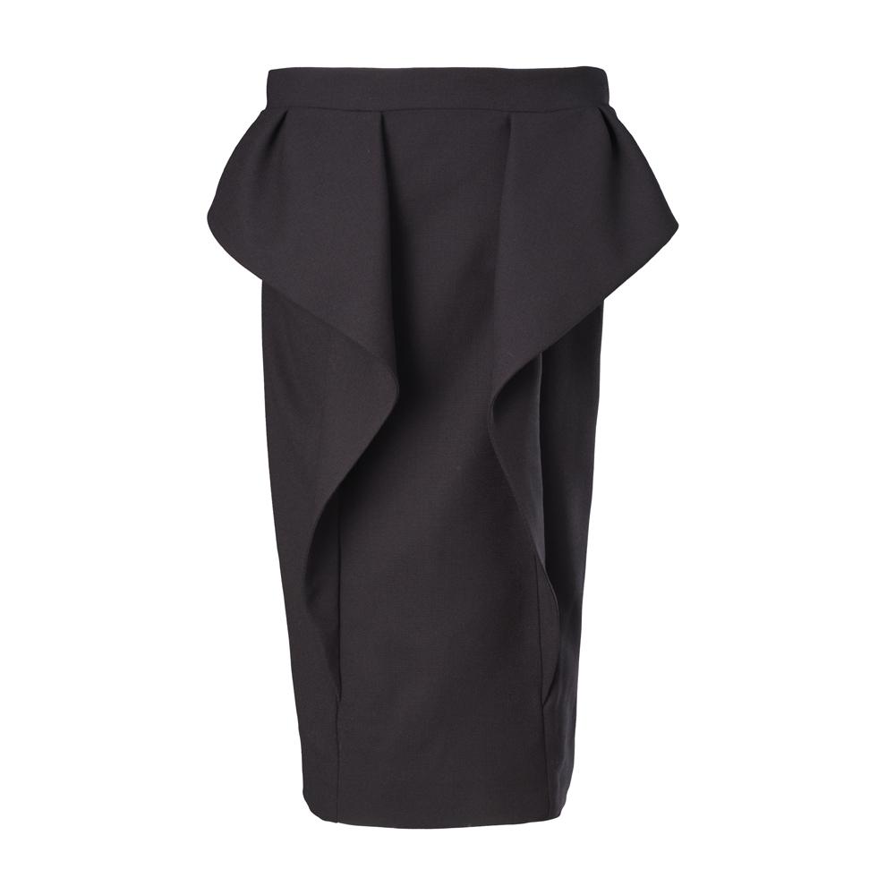 Gucci 2013早秋新款黑色流线剪裁高腰及膝裙