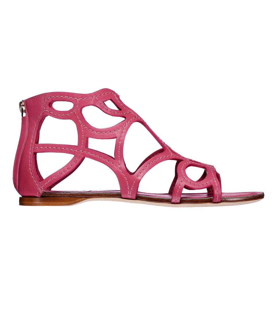 Dior迪奥桃色镂空平底凉鞋