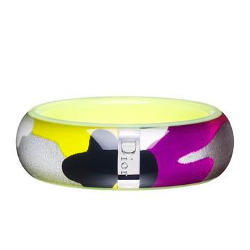 Dior迪奥Christian Dior荧光黄迷彩树脂手环