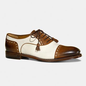 Gucci棕白拼色中性款式皮鞋