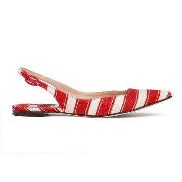 杜嘉班纳(Dolce & Gabbana)2013年春夏红白条纹帆布尖头平底鞋