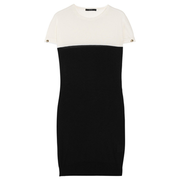 Gucci 黑白拼接短袖针织连衣裙