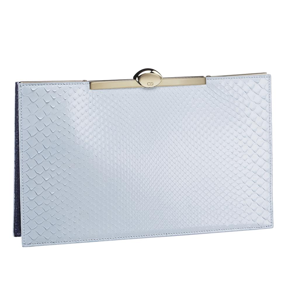Dior天空色海蓝色拼色高订蟒蛇皮手包