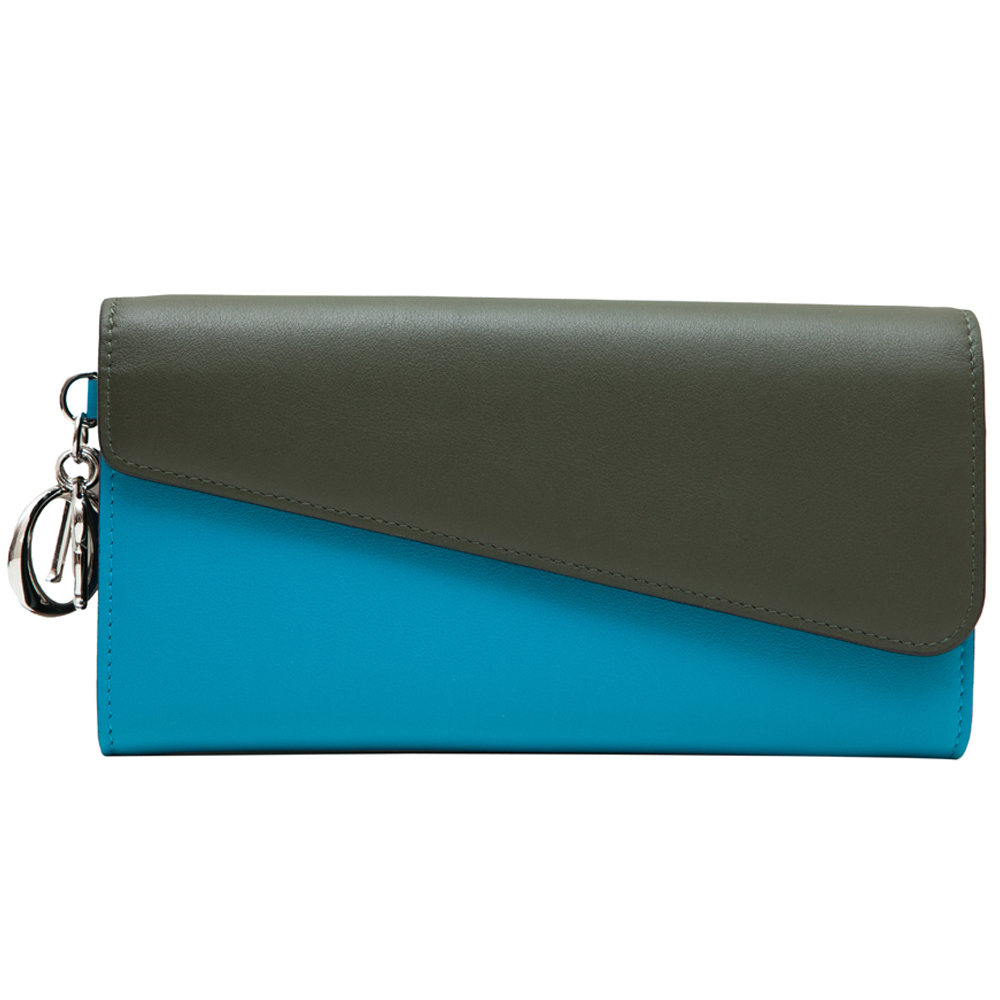 Dior蓝色绿色拼色牛皮钱包