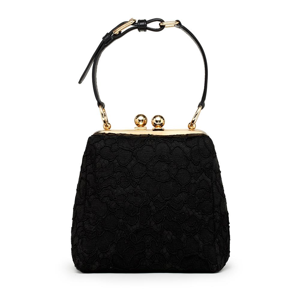 Dolce&Gabbana杜嘉班纳2013秋冬黑色绣花手提包