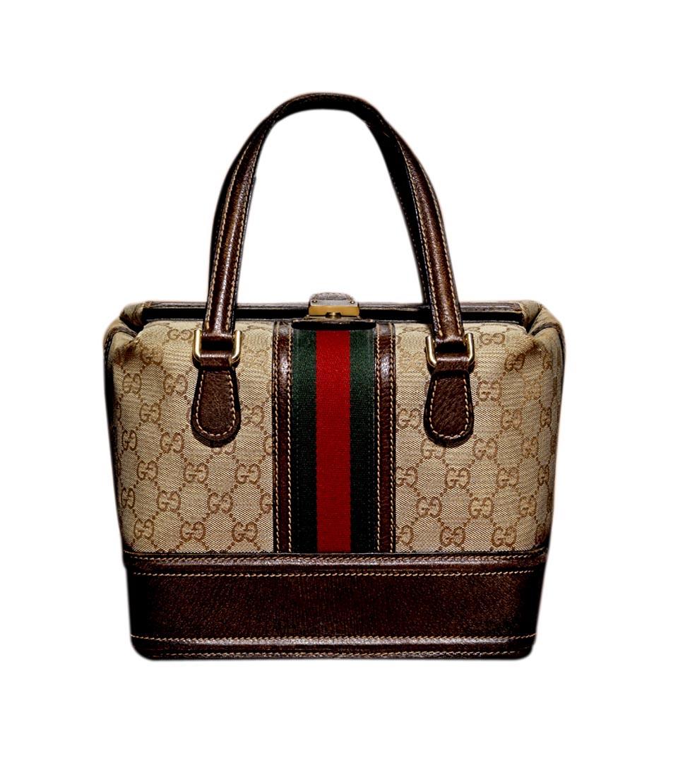 Gucci古驰经典logo双色条纹化妆包