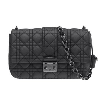 Dior迪奥黑色藤格纹链条包