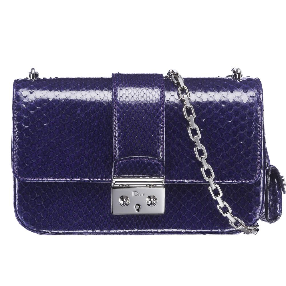 Miss Dior夜蓝色蟒蛇漆皮手袋