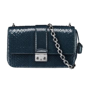 Dior迪奥黑色蟒蛇皮链条包