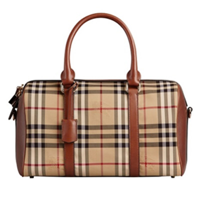 Burberry博柏利棕色中号Horseferry Check格纹保龄球包