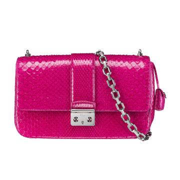 Dior迪奥玫红色蟒皮链条包