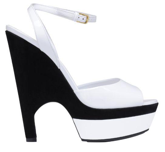 圣罗兰YSL黑底白色皮质高跟鞋