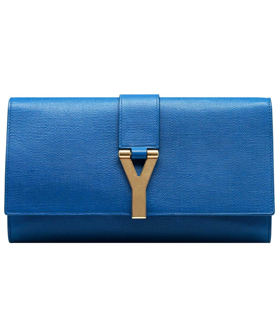 圣罗兰YSL铜扣饰蓝色牛皮手拿包